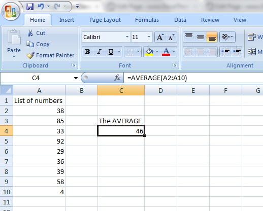 Calculate Average In Excel